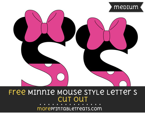 Free Minnie Mouse Style Letter S Cut Out - Medium Size Printable