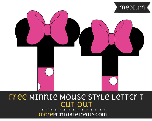 Free Minnie Mouse Style Letter T Cut Out - Medium Size Printable