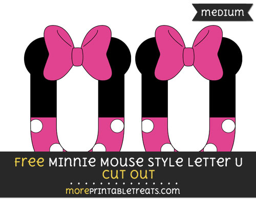 Free Minnie Mouse Style Letter U Cut Out - Medium Size Printable