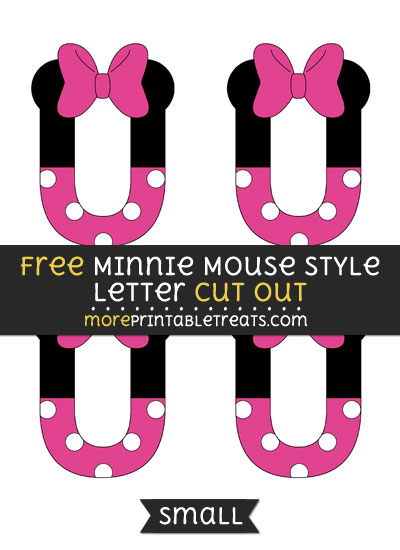 Free Minnie Mouse Style Letter U Cut Out - Small Size Printable