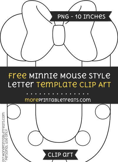 Free Minnie Mouse Style Letter U Template - Clipart