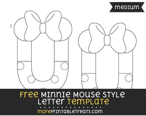 Free Minnie Mouse Style Letter U Template - Medium