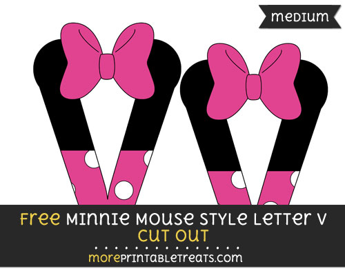 Free Minnie Mouse Style Letter V Cut Out - Medium Size Printable