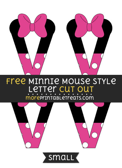 Free Minnie Mouse Style Letter V Cut Out - Small Size Printable