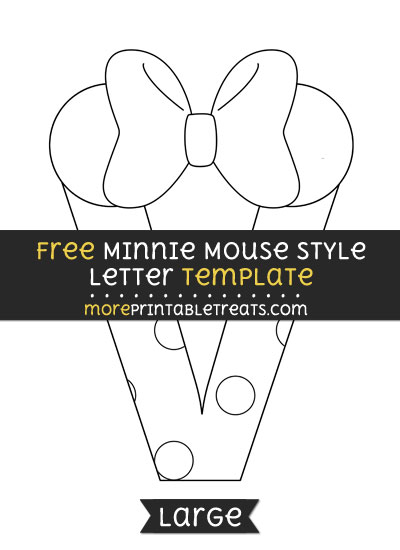 Free Minnie Mouse Style Letter V Template - Large