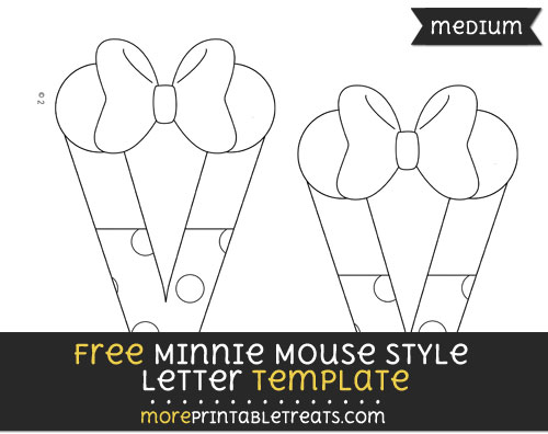 Free Minnie Mouse Style Letter V Template - Medium