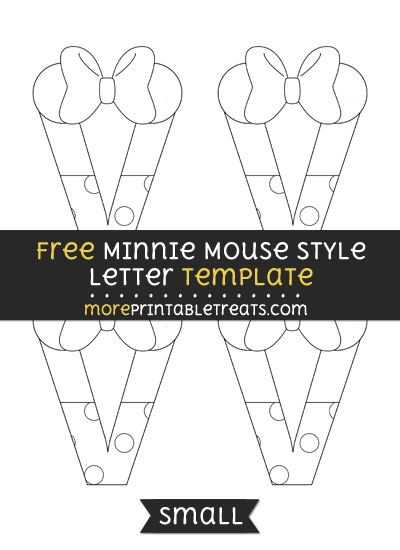 Free Minnie Mouse Style Letter V Template - Small