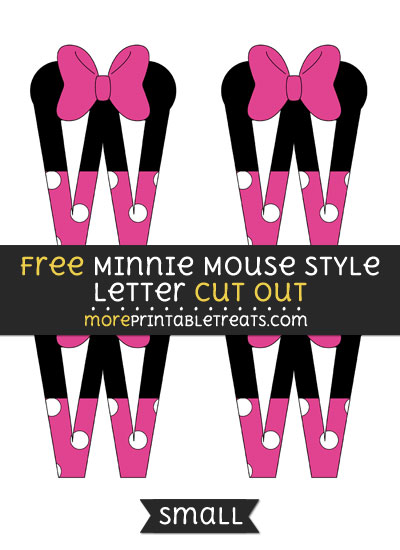 Free Minnie Mouse Style Letter W Cut Out - Small Size Printable
