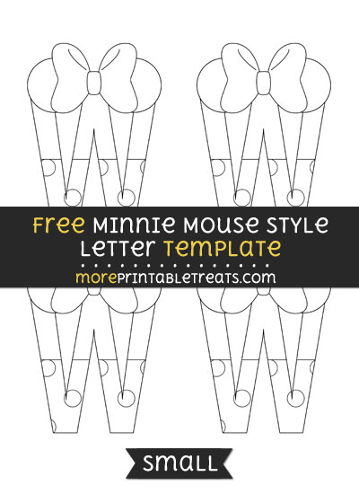Free Minnie Mouse Style Letter W Template - Small