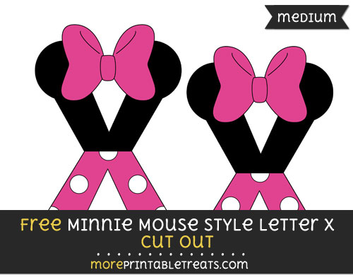 Free Minnie Mouse Style Letter X Cut Out - Medium Size Printable