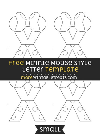 Free Minnie Mouse Style Letter X Template - Small