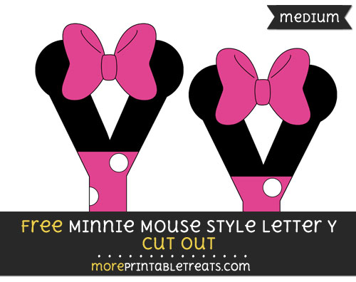 Free Minnie Mouse Style Letter Y Cut Out - Medium Size Printable