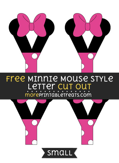 Free Minnie Mouse Style Letter Y Cut Out - Small Size Printable