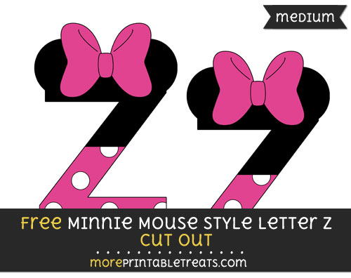 Free Minnie Mouse Style Letter Z Cut Out - Medium Size Printable
