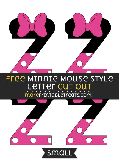 Free Minnie Mouse Style Letter Z Cut Out - Small Size Printable
