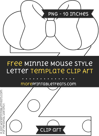 Free Minnie Mouse Style Letter Z Template - Clipart