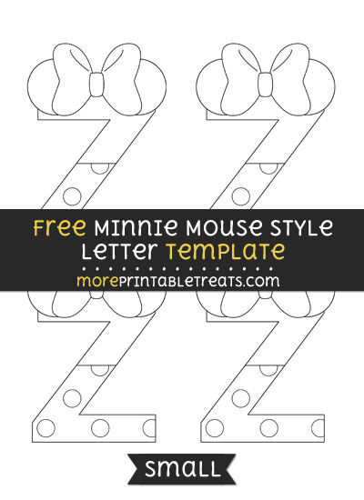 Free Minnie Mouse Style Letter Z Template - Small