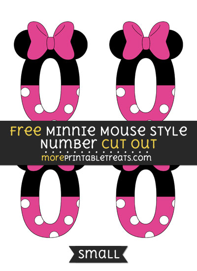 Free Minnie Mouse Style Number 0 Cut Out - Small Size Printable