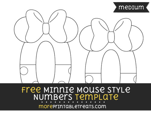 Free Minnie Mouse Style Number 0 Template - Medium