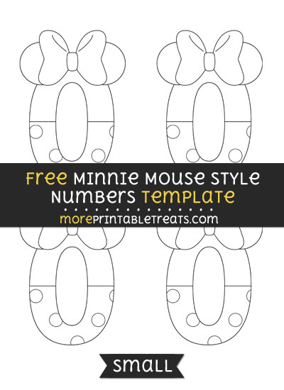 Free Minnie Mouse Style Number 0 Template - Small