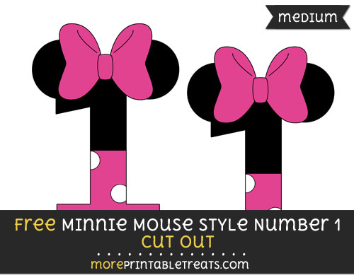 Free Minnie Mouse Style Number 1 Cut Out - Medium Size Printable
