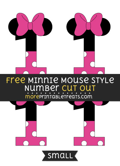 Free Minnie Mouse Style Number 1 Cut Out - Small Size Printable