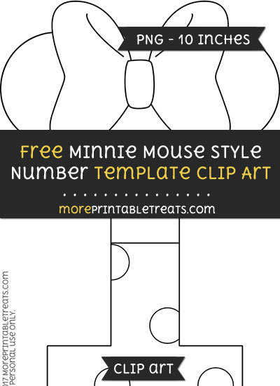 Free Minnie Mouse Style Number 1 Template - Clipart