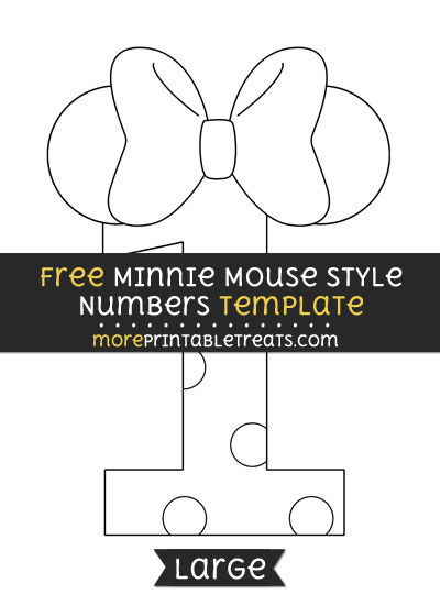 Free Minnie Mouse Style Number 1 Template - Large