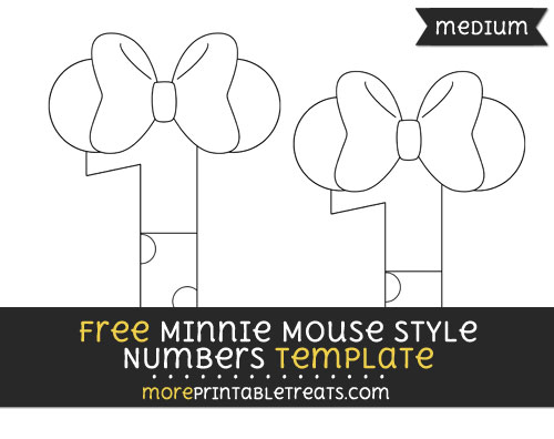 Free Minnie Mouse Style Number 1 Template - Medium