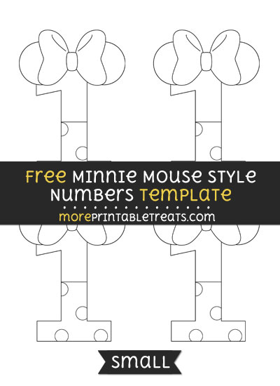 Free Minnie Mouse Style Number 1 Template - Small