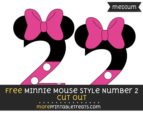 Free Minnie Mouse Style Number 2 Cut Out - Medium Size Printable