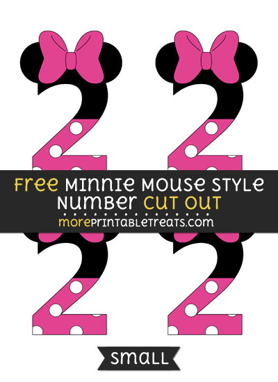 Free Minnie Mouse Style Number 2 Cut Out - Small Size Printable
