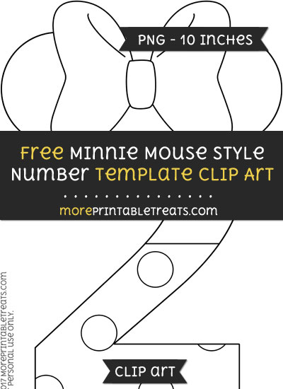 Free Minnie Mouse Style Number 2 Template - Clipart