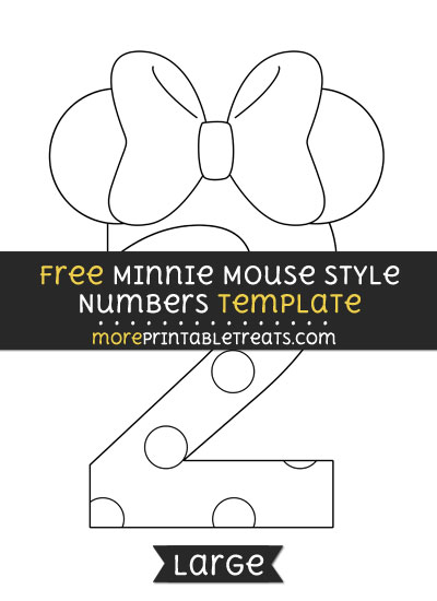 Free Minnie Mouse Style Number 2 Template - Large