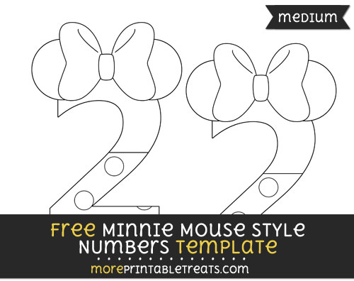 Free Minnie Mouse Style Number 2 Template - Medium