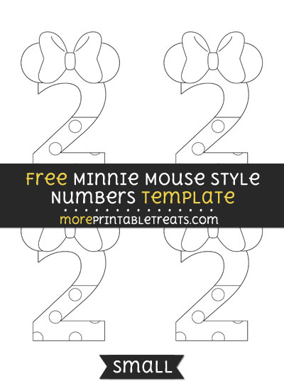 Free Minnie Mouse Style Number 2 Template - Small