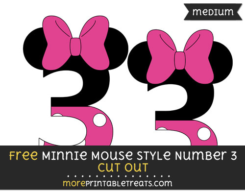 Free Minnie Mouse Style Number 3 Cut Out - Medium Size Printable