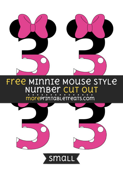 Free Minnie Mouse Style Number 3 Cut Out - Small Size Printable