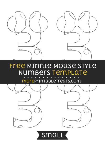 Free Minnie Mouse Style Number 3 Template - Small