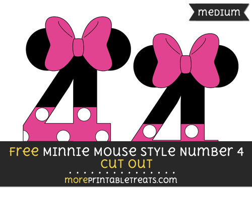 Free Minnie Mouse Style Number 4 Cut Out - Medium Size Printable
