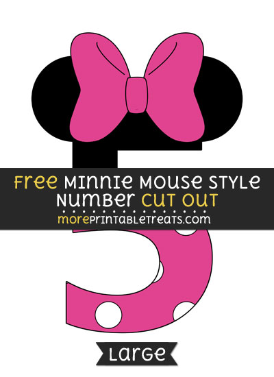 Free Minnie Mouse Style Number 5 Cut Out - Large size printable
