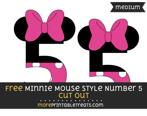Free Minnie Mouse Style Number 5 Cut Out - Medium Size Printable