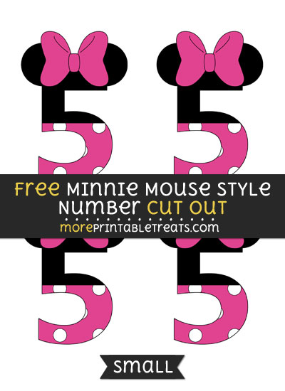 Free Minnie Mouse Style Number 5 Cut Out - Small Size Printable