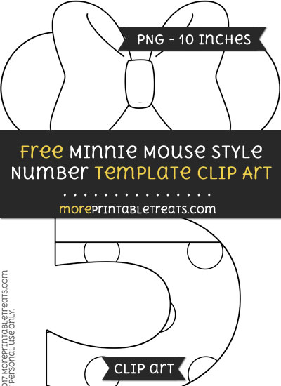 Free Minnie Mouse Style Number 5 Template - Clipart