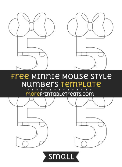 Free Minnie Mouse Style Number 5 Template - Small