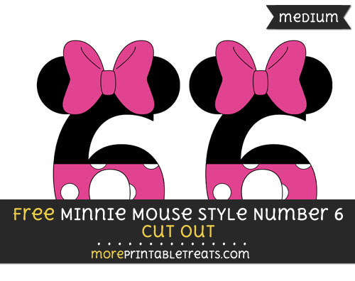 Free Minnie Mouse Style Number 6 Cut Out - Medium Size Printable