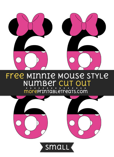Free Minnie Mouse Style Number 6 Cut Out - Small Size Printable