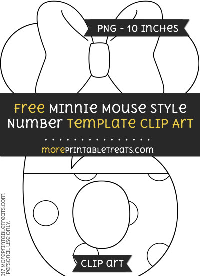 Free Minnie Mouse Style Number 6 Template - Clipart