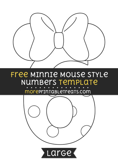 Free Minnie Mouse Style Number 6 Template - Large