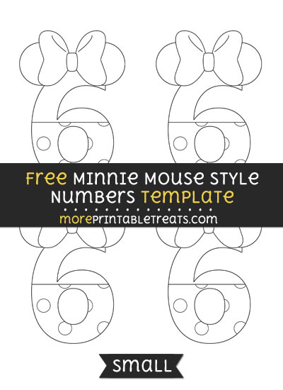 Free Minnie Mouse Style Number 6 Template - Small